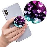 sanshun Ausziehbarer Sockel für Handy Halter, Griff für Smartphones und Tablets, Rosa Herz und Schwarz Blau Lila