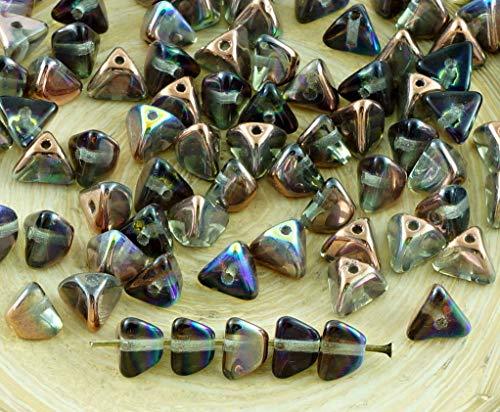 50X Kristall-Metallic-Kupfer-Regenbogen-Tschechische Glas-Große Halbe Prise Triangel Spacer Perlen 4mm x 7mm - Gläser Kristall Tschechische