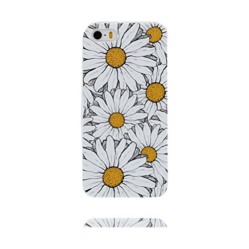 Custodia iPhone 5, iPhone 5s copertura case in silicone TPU leggero sottile adatto Cover per iPhone 5S SE 5G 5 - fiore ciliegia Margherite bianca