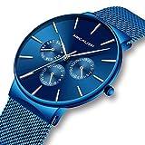 Herren Uhr Männer Wasserdicht Luxus Sport Edelstahl Mesh Blau Dünne Armbanduhren Klassische Elegant Datum Kalender Analog Quarz Kleid Herrenuhr
