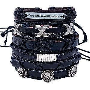 Enjoy Life 6-teiliges 'Triple XXX' Lederarmband Set für Damen & Herren | Austauschbare Armbänder aus 100% Qualitätsleder | Geflochten & handgefertigt für bewährte Haltbarkeit | größenverstellbar