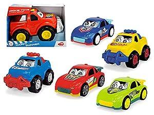 Dickie Toys 203814017 Happy Runner - Coches de Juguete para niños a Partir de 1 año, vehículos de Obras, Coches de Juguete, luz y Sonido, 6 variedades