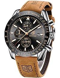 BY BENYAR Orologio Cronografo da Uomo Movimento al Quarzo Cinturino in Pelle Moda Sportivo Watch 30M impermeabile Elegante Regalo per Uomo