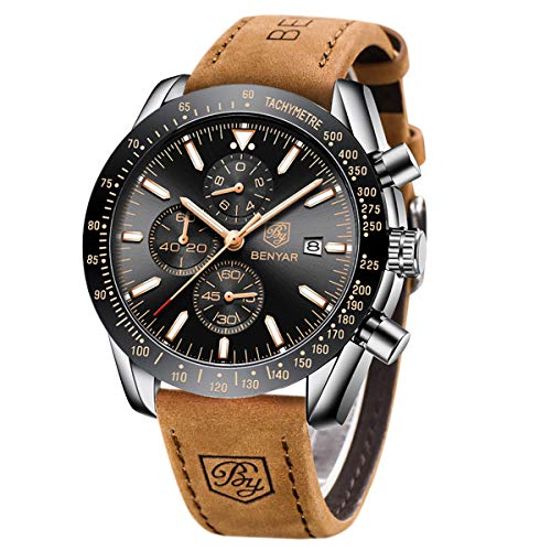 BENYAR Chronograph Herren Uhren Analog Quarzuhr Männer Lederband Schwarz Zifferblatt 30M Wasserdicht Mode Sport Armbanduhr Elegantes Geschenk