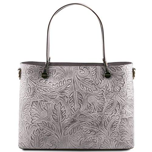 Tuscany Leather Atena Borsa shopping in pelle stampa floreale Nude Grigio