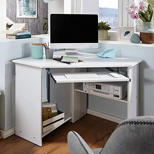 FineBuy Eckschreibtisch 127 x 73 x 88,5 cm mit Tastaturauszug und Ablagefach Weiß | Moderner Schreibtisch für Büro | PC-Tisch Arbeitszimmer | Computertisch Holz