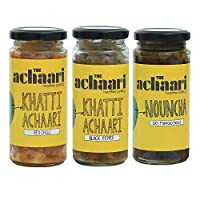 The Achaari Homemade Mango Pickle (Pack of 3) (Khatti Achaari Red Chilli, Khatti Achaari Black Pepper & Nouncha)