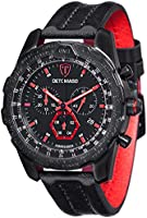 DETOMASO Airbreaker Men's Quartz Watch with Black Dial Analogue Display and Black Leather Bracelet Dt-Yg101-A