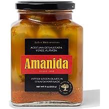 AMANIDA GOURMET - Aceituna Deshuesada Verde Aliñada - tarros de 530g (Pack de 6)