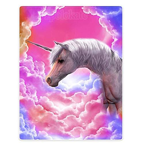 MinegRong Throw BlanketsManta para sofá Cama Unicornios Coloridos Cloud White, como se Muestra, 100 W x 125 L cm