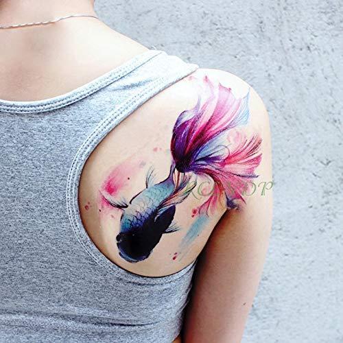 te tatoo Tattoo Aufkleber fisch gefälschte tatto flash tatoo tatouage große größe zurück arm schulter körperkunst für mädchen frauen männer ()