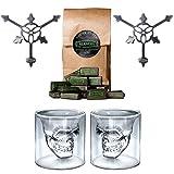 ALANDIA Totenkopf Absinth-Gläser/Löffel Set | 2X Skull Absinth-Glas | 2X Dreizack Absinth-Löffel | 1x Absinth-Zuckerwürfel
