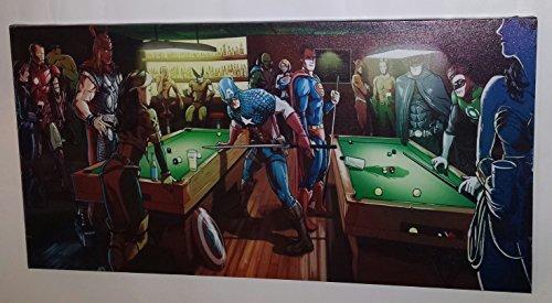 DC & Marvel Superhelden Pool Competition groß gedehnt & montiert Leinwand Kunstdruck Marke (Marvel Dc Superhelden)