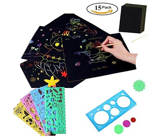 Tovto 15PCS Kids Premium Rainbow scratch kit 10Big 27,9x 21cm fogli di carta raschietto set Large Rainbow Art Doodle Pad colorato con 5Normografo disegno righelli adatto per bambini di tutte le età