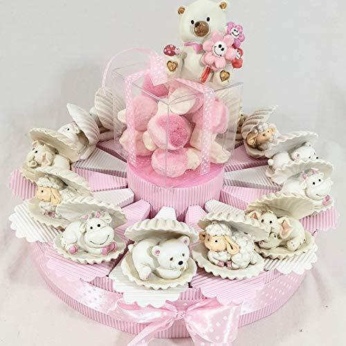 Sindy bomboniere bomboniera battesimo nascita femmina con animaletti nella conchiglia e orsetto centrale + confetti rosa al cioccolato crispo