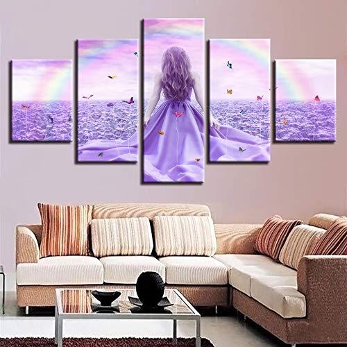 lsweia Holzrahmen/Modulare Leinwand Bild 5 Stücke Mädchen Stand In Der Lila Blume Meer Und Schmetterling Regenbogen Landschaft Malerei Dekor Wandkunst Drucke
