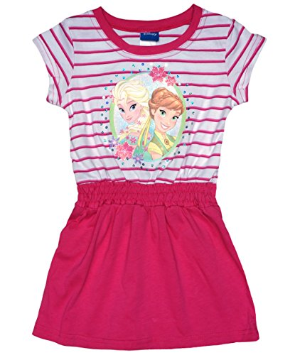 Mädchen-Kleid in GRÖSSE 104, 110, 116, 122, 128, 134, 140 gestreift zwei Farben, leichtes EISKÖNIGIN Sommer-Kleid KURZ-ARM, Strand-Kleid oder Freizeit-Kleid mit Anna und Elsa Color Rosa, Size 134