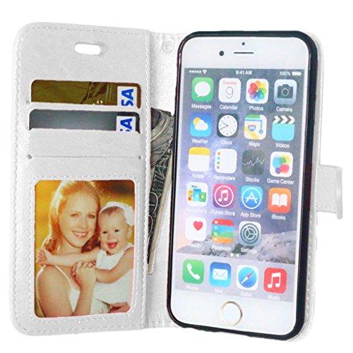 FUBAODA PU Cuir Folio iPhone 6s Case Coque Etui Étui Portefeuille Case Cover [Syncwire Câble Gratuit] Wallet avec Stand support Housse de Protection pour Apple iphone 6 6s (rose) White