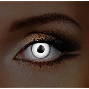 i-Glow Zombie Halloween Farbige Kontaktlinsen Ohne Stärke UV Weiß (Tageslinsen)