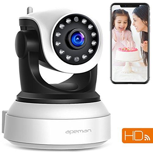 APEMAN 720P Wlan IP Kamera WIFI Überwachungskamera mit Nachtsicht Bewegungserkennung 2 Wege Audio Smart Home Kamera Unterstützung 128GB Mikro-SD Karte