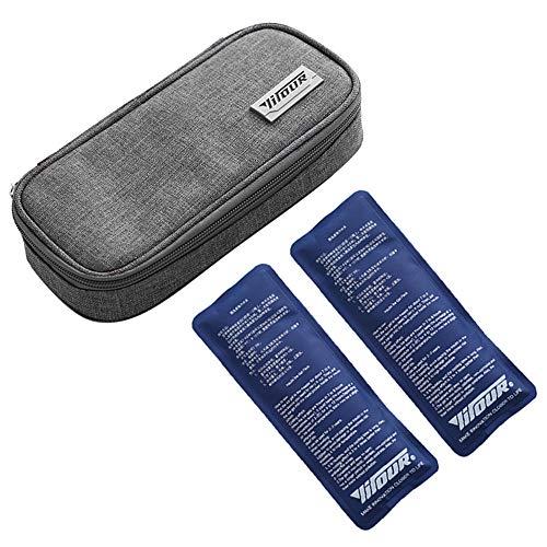 Insulin kühltasche, Diabetiker Tasche für Medikamente Diabetikerzubehör Thermotasche mit 2 Kühlakkus - Grau
