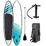 "SUP Board Stand up Paddling Surfboard""Relax"" 320x76x15cm aufblasbar Double-Layer Alu-Paddel Hochdruck-Pumpe Transportrucksack 130KG Tragkraft"