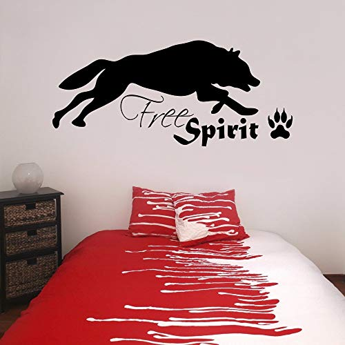 Wolf Freigeist mit Pfotenabdruck Vinyl Wandkunst Aufkleber Jugendstil Wohnzimmer Schlafzimmer Wandaufkleber Fensteraufkleber 42 * 95 CM