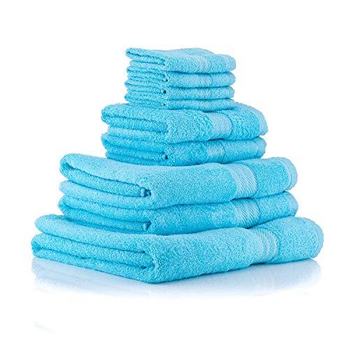 Las toallas de la gama Knightsbridge están hechas de algodón egipcio de 500GSM (gramos por metro cuadrado) y tienen un elegante borde de felpilla tejida   Cada set consiste de las siguientes 9 toallas:4 Toallas de cara de 30x30cm2 Toallas de mano de ...