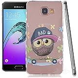 Ouluyun Coque Silicone Gel pour Samsung Galaxy A3 (2016) SM-A310F(owl), Étui Housse de Protection TPU Back Case Cover motif coloré + Gratuit stylet l'écran aléatoire universelle