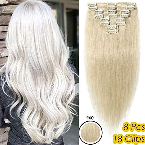 Clip in Extensions Echthaar Günstig Weich Haarverlängerung Glatt Haarteil 8 Teilig 18 Clips Hochwertig Human Hair 50cm/70 Gramm 60# Platinblond