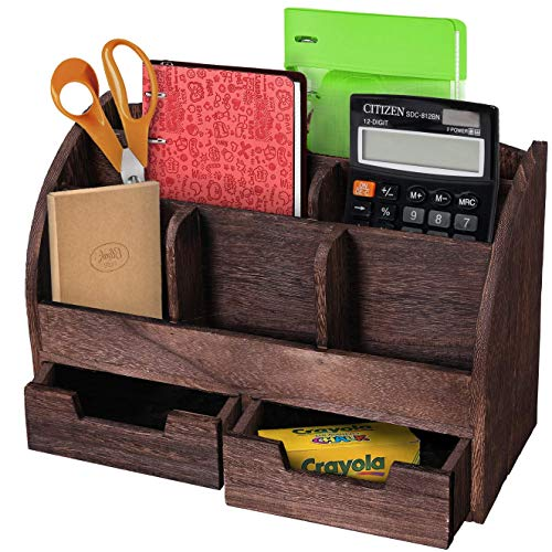 Comfify Rustikaler Schreibtisch-Organizer aus Holz für Zuhause - Postfach für Schreibtisch, Tischplatte oder Theke - Schreibtischbedarf-Organizer mit 2 Schubladen und 6 Fächern - Braun -