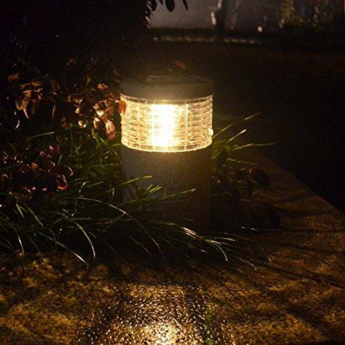 Bg Außenbereich Licht (Bureze Garten-Solar-Steinpfosten, weiß, warmes weißes LED-Licht für den Außenbereich, Wasserdichte Dekoration)