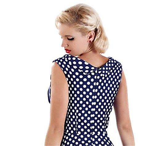 LOBTY Femme Vintage années 50 s Style Audrey Hepburn Rockabilly Swing robe de fête de pique-nique Bleu