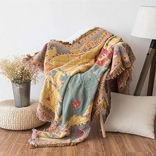 Épaissir Carte du monde Cotton Chenille plaids Couverture Canapé décoratif Jetés sur le canapé/lit Couverture avec pompons Pour la maison (Color : 1, Size : 130x180cm)