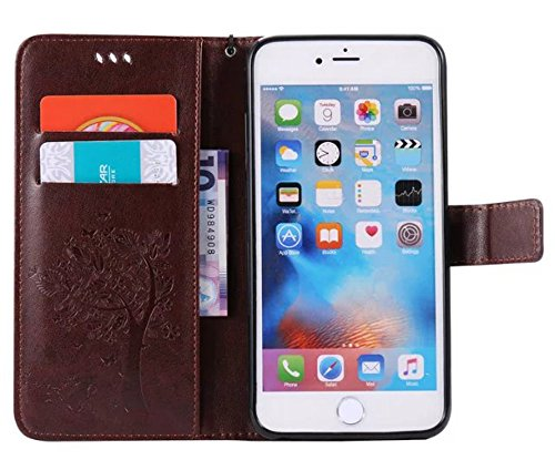 Nnopbeclik Coque Iphone 6 Plus Apple / Coque Iphone 6S Plus Apple Mode Fine Folio Wallet/Portefeuille en Bonne Qualité PU Cuir Housse pour Iphone 6 Plus Coque cuir / Iphone 6S Plus Coque apple (5.5 Po Café