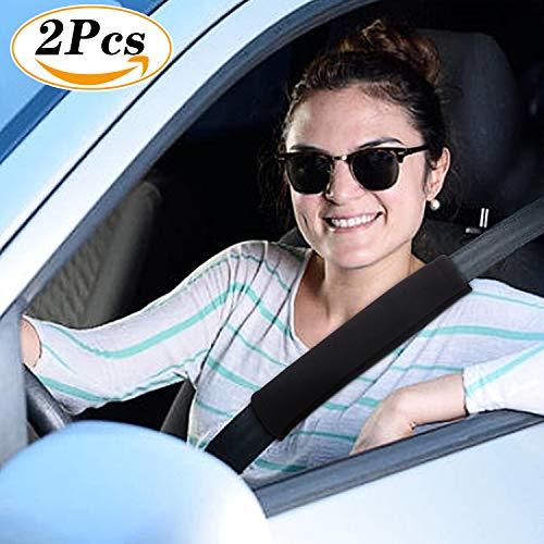 Blooven 1 Paar Gurtpolster Auto Sicherheitsgurt Bügel Gurtschutz, Polsterung für Sitzgurt im Auto für mehr Komfort Gurtpolster Schulterpolster Schlafkissen Nackenstütze Schwarz