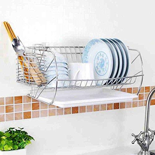 Hyun times Spülmaschine Edelstahl 41 * 20.8 * 26cm Drainage Küche Set Wand hängenden Anhänger (Metall-sicherheits-speicher-regal)