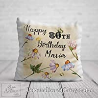 80th Birthday Cushion for her 80th Birthday Gift for Women Personalised 80 Birthday Pillow 40 x 40cm / 16 x 16in