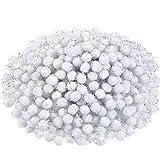 600 Pezzi Pom Pom di Natale Pom Pom Glitter Arte e Artigianato Fare Palle per Artigianato Natalizio Fare Rifornimenti della Festa (Bianco)
