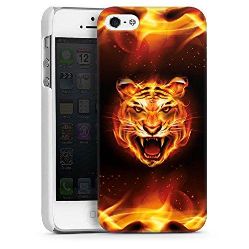 Apple iPhone 5s Housse Étui Protection Coque Tigre du Bengale Félin Feu CasDur blanc