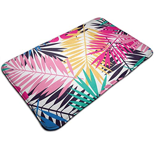 Tropical Coconut Tree Colorful Leaves Doormat Entrance Floor Rug Indoor Mat Non-Slip Flannel for Bedroom Bathroom Living Room Kitchen Home Decorative -