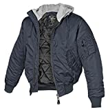 MA-1 Jacke Sweat Hooded Navy/grau - S