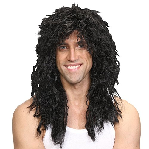 lts Fancy Dress Glam Rock Rocker Wig Black (Rockstar Dress)