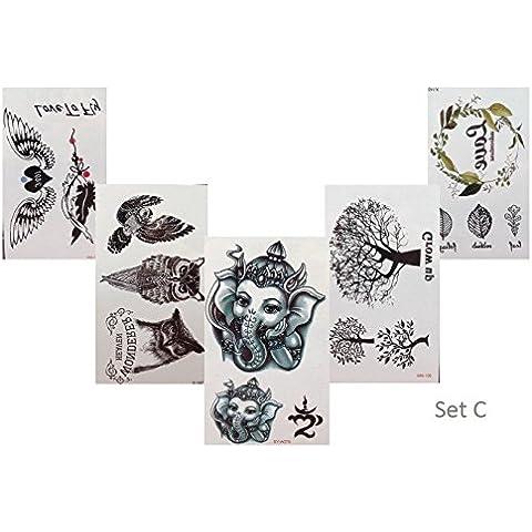 5 + 1 piccoli tatuaggi SET C Elefante Gufo albero FLASH tatuaggio finto tatuaggio temporaneo