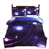 CHAOSE Allergie verhindern Bettbezug Set 3D Galaxy Sternenhimmel Universum Mond Einhorn Duvet Quilt und Kissenbezug Einzelbett für Kinder, Jungen, Mädchen Bettwäsche-Set 135x200cm (Milchstraße)