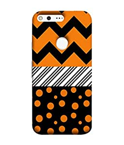 Fuson Designer Back Case Cover for Google Pixel (Zigzag Stripes Polka Dots Blocks)