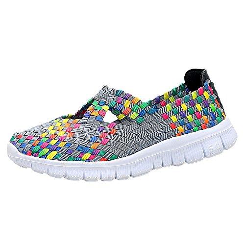 Frauen Damen Schuhe Handgemachte Elastische Gewebte Slip-On Leichte Atmungsaktive Mode Gehen Turnschuhe Decksole In Memory Foam 36-42(Grau,42 EU)