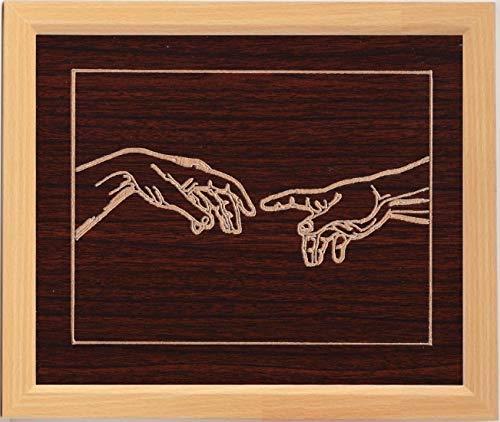 Touch Gerahmt (Nazar Gallery Heavenly Touch Gerahmte Kunst, geschnitztes Holz, Heimdekoration, Wanddekoration, Büro-Dekoration, rustikale Dekoration, Kabinenkunst, Geschenk)