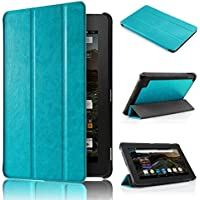 """Malloom® Ultra-delgada Cuero de la cubierta del caso del soporte Funda Case Carcasa Protectora de Cuero PU para 7"""" Amazon Kindle Fire HD 7 2015 Tablet (azul)"""