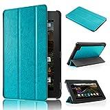 Malloom Ultra-delgada Cuero de la cubierta del caso del soporte Funda Case Carcasa Protectora de Cuero PU para 7' Amazon Kindle Fire HD 7 2015 Tablet (azul)